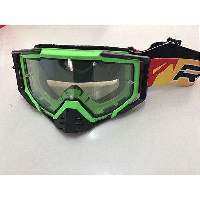 Óculos Capacete MotoCross Red Dragon EFX YH-105 VDF Verde Neon Lente Dupla Cristal