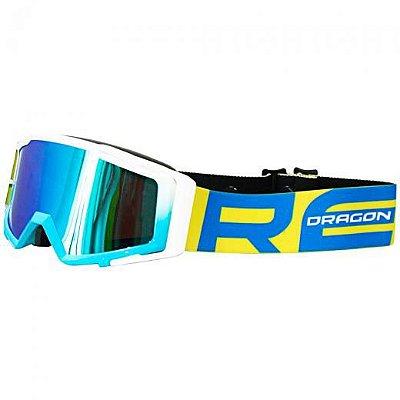 Óculos Capacete MotoCross Red Dragon MX YH-138 BA Branco Azul Lente Espelhada Azul