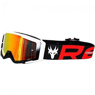 Óculos Capacete MotoCross Red Dragon MX YH-138 BP Branco Preto Lente Espelhada Vermelha