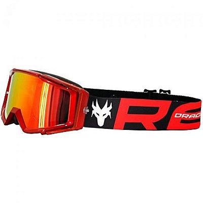 Óculos Capacete MotoCross Red Dragon MX YH-138 VM Vermelho Metalico Lente Espelhada Vermelha