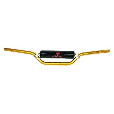 Guidão Motos Dourado Cross Bar Alto 22mm em Aluminio 7075 Red Dragon Com Barra