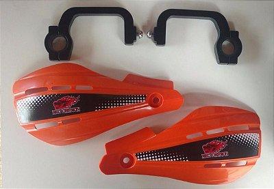 Protetor de Mao MotoCross Aberto Universal Suporte de Aluminio Laranja Red Dragon
