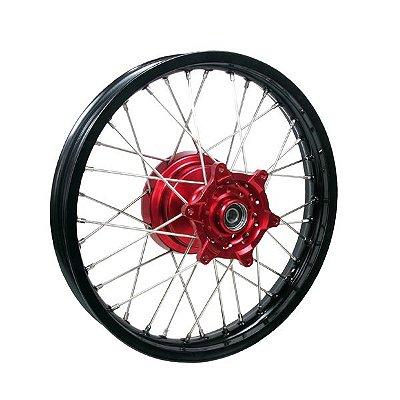 Roda Traseira Completa 19'' Honda Crf 250 450r Preto e Vermelho Red Dragon