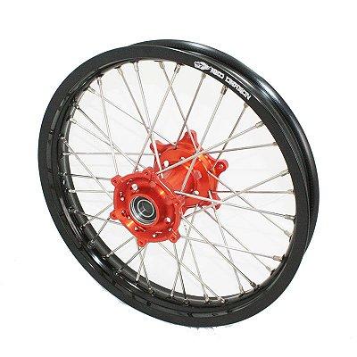 Roda Traseira Completa 18'' KTM Exc Excf 2004 Preto e Laranja Red Dragon