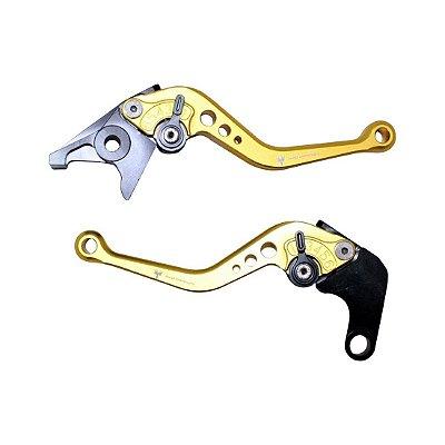 Par Manetes Esportivos Anodizados Yamaha Ybr 125 E K 09-15 Red Dragon Dourado