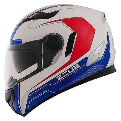 Capacete Moto Zeus 813 Win An8 White Blue Edição Especial
