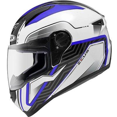 Capacete Moto Zeus 811 Evo Thunder Al16 white Blue