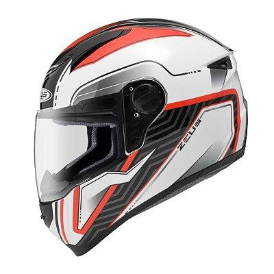 Capacete Moto Zeus 811 Evo Thunder Al16 white Red