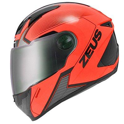 Capacete Moto Zeus 811 Evo Speedster Fluor Al6 Orange Black