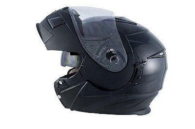 Capacete Moto Zeus 3020 Urban Escamoteável Matt Black Solid
