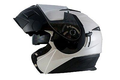 Capacete Moto Zeus 3020 Urban Escamoteável Pearl White Black Solid