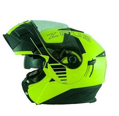 Capacete Moto Zeus Ab12 Escamoteável Cruiser Fluor Yellow Blk
