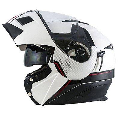 Capacete Moto Zeus Ab12 Escamoteável Cruiser Pearl White Blk