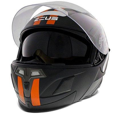 Capacete Moto Zeus Ab3 Escamoteável Discovery Matt Black Orange
