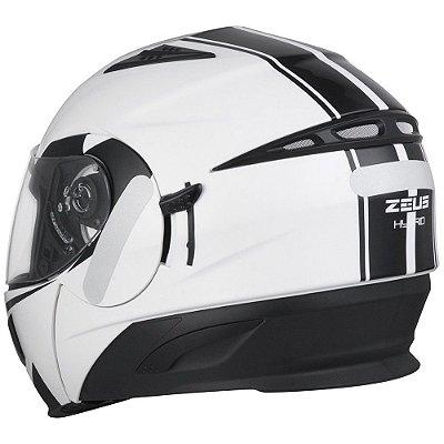 Capacete Moto Zeus Ae1 Escamoteável Hybrid Pearl White Blk