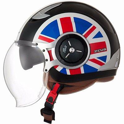 Capacete Moto Zeus 218DA Flag Solid Black White