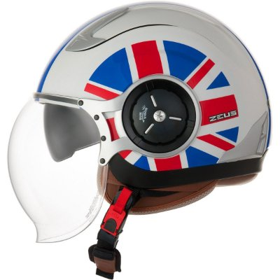 Capacete Moto Zeus 218DA Uk Flag White Blue