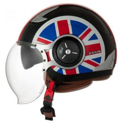 Capacete Moto Zeus 218DA Uk Flag Solid Black Red