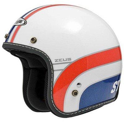Capacete Moto Zeus 380H K63 Pearl White Red Aberto