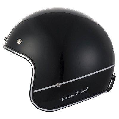 Capacete Moto Zeus Vintage 380H K25 Solid Black Aberto