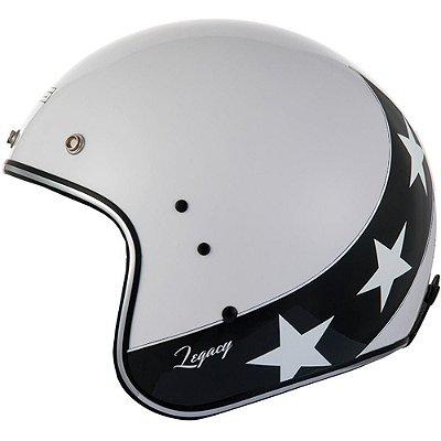 Capacete Moto Zeus Legacy 380H K57 Pearl White Black Aberto