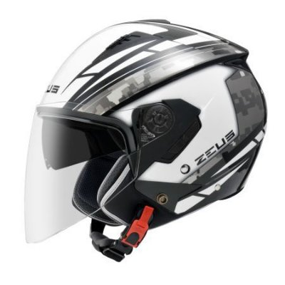 Capacete Moto Zeus 205 Aq1 Pixel White Black Grey Aberto