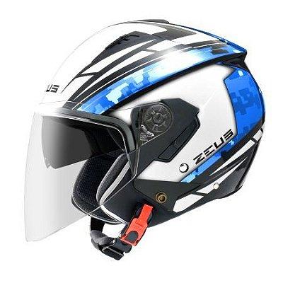 Capacete Moto Zeus 205 Aq1 Pixel Matt White Black Blue Aberto