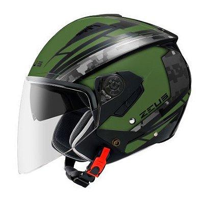 Capacete Moto Zeus 205 Aq1 Pixel Matt Green Black Aberto