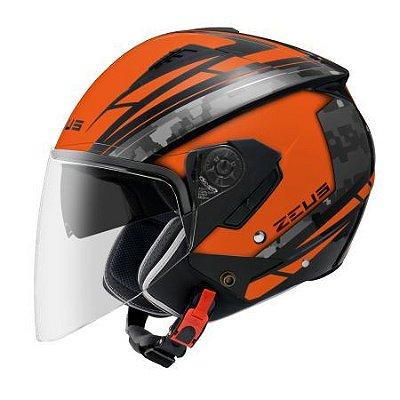 Capacete Moto Zeus 205 Aq1 Pixel Matt Orange Black Grey Aberto