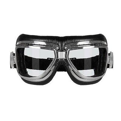 Óculos para Moto Goggles Sky Cromado Vintage Urban Old Scholl