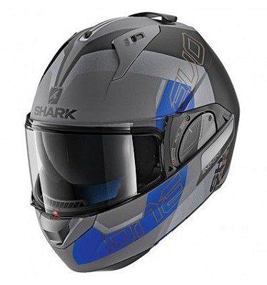 Capacete Moto Shark Evo One V2 Slasher Matt Akb Escamoteável Cinza