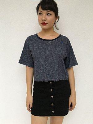 T-shirt Cropped Feminina Azul Mescla
