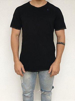 Camiseta Longline Raglan Preta
