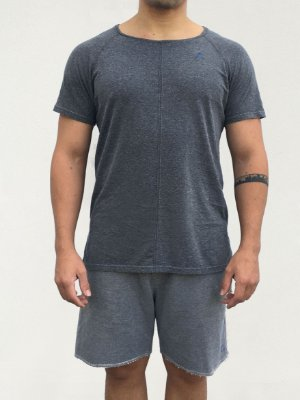 T-shirt Raglan Longline Cinza