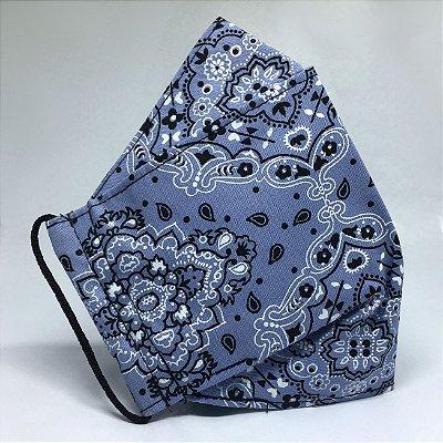 Máscara de Tecido 3d Bandana Azul - Modelo Tarja