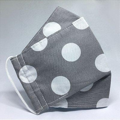 Máscara de Tecido 3d Cinza de Poá Branco - Modelo Tarja