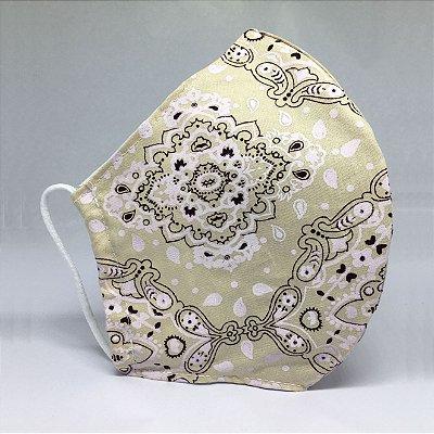 Máscara de Tecido Bico de Pato Bandana Preta Bege - Modelo CT