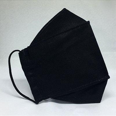 KIT de 3 Máscaras de Tecido 3D Preto - Modelo Tarja