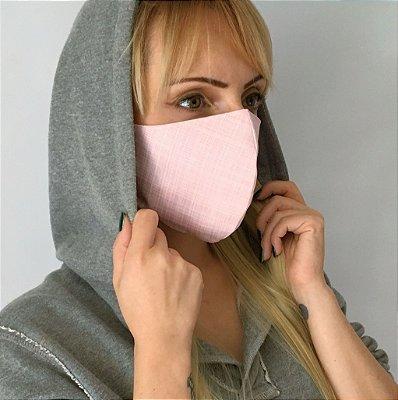 Máscara de Tecido Bico de Pato Rosa e Branco - Modelo CT
