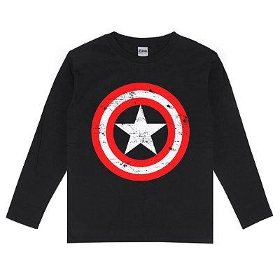 Camiseta Manga Longa Capitão América