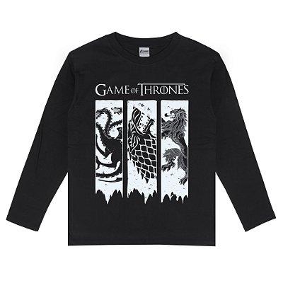 Camiseta Manga Longa Game Of Thrones Brasões 3 Casas