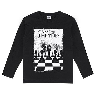Camiseta Manga Longa Game Of Thrones Jogo de Xadrez