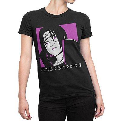 Camiseta Itachi Rosa Feminina