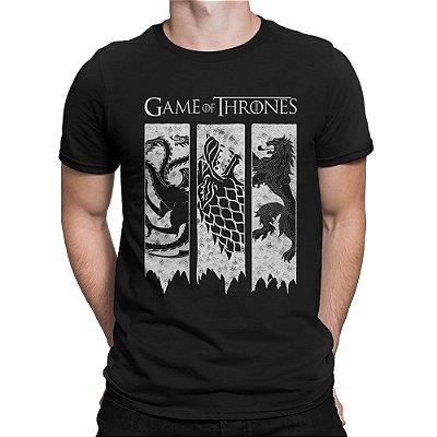7d8448dfb7bb5 Camiseta Game of Thrones Brasões das 3 Casas
