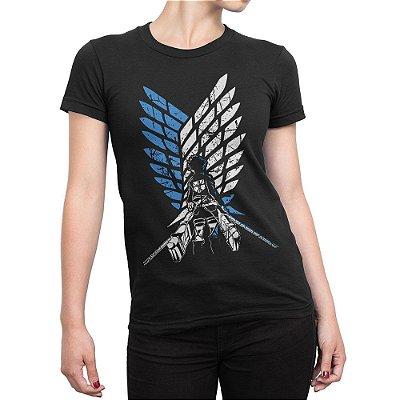 Camiseta Attack on Titan Survey Corps Eren Feminina