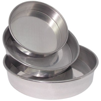 Conjunto 3 Assadeiras de Alumínio Redondo (Fôrma) - Polido