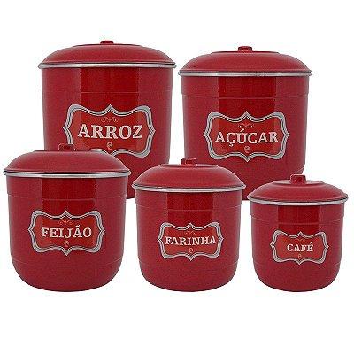 Conjunto Porta Mantimentos com 5 Peças (Kit Mantimentos) - Vermelho