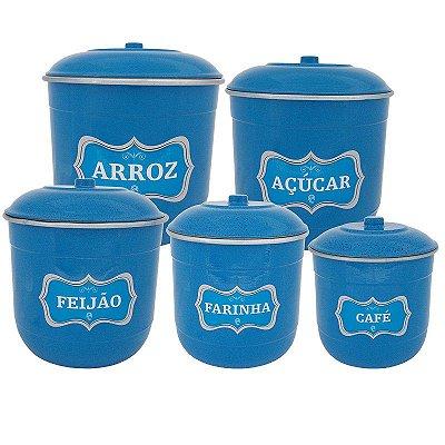 Conjunto Porta Mantimentos com 5 Peças (Kit Mantimentos) - Azul