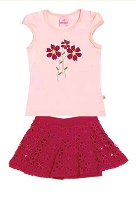 Conjunto Floral Short Saia - Abrange