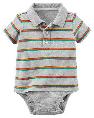 """Macacão """"Romper"""" Gola Polo Estilo Camiseta - Carter's"""